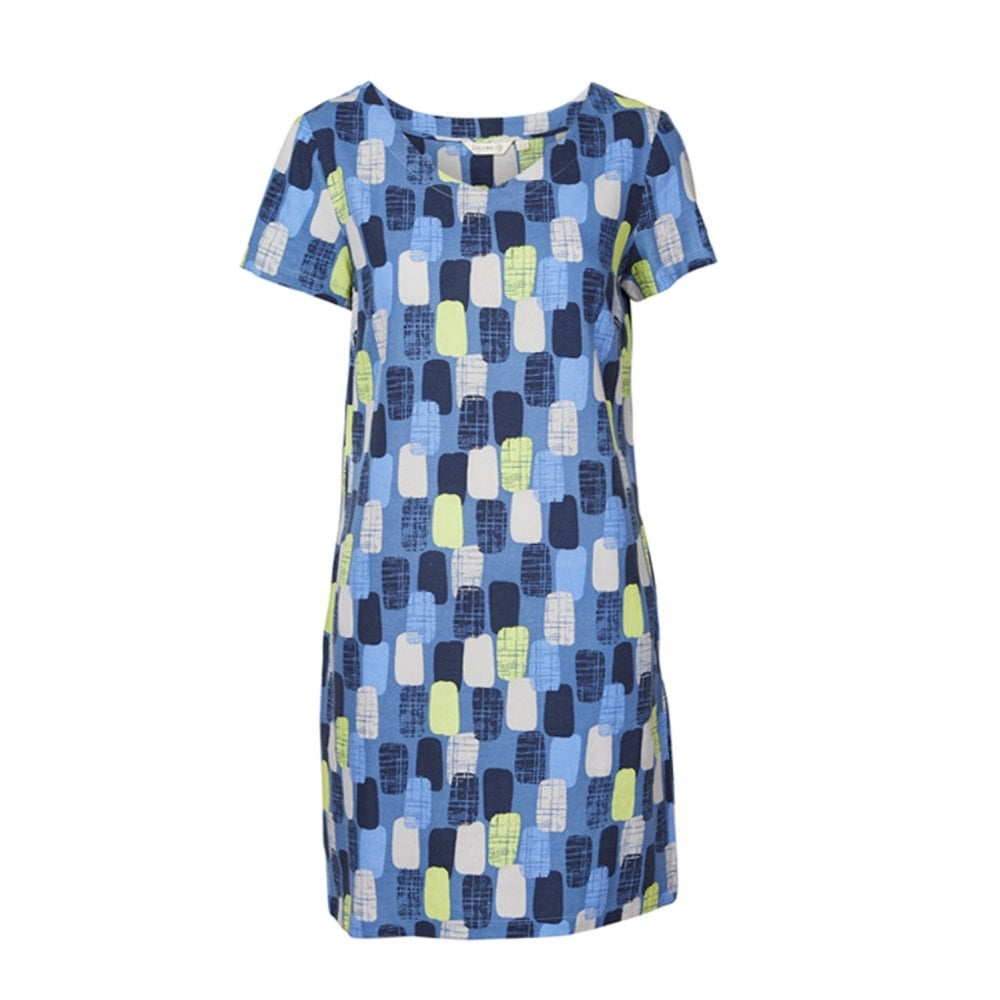 5dee4a85459536 Lily & Me Shift Dress Linen Mix Textured Geo from Otterburn Mill